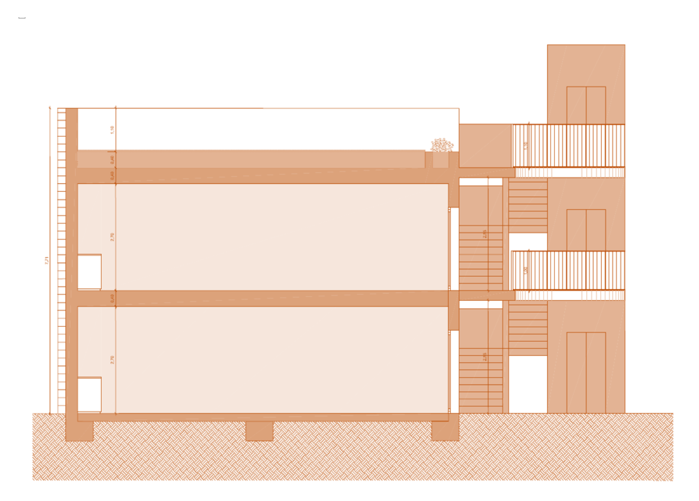 Architect´s plan of the secondary school building from the side