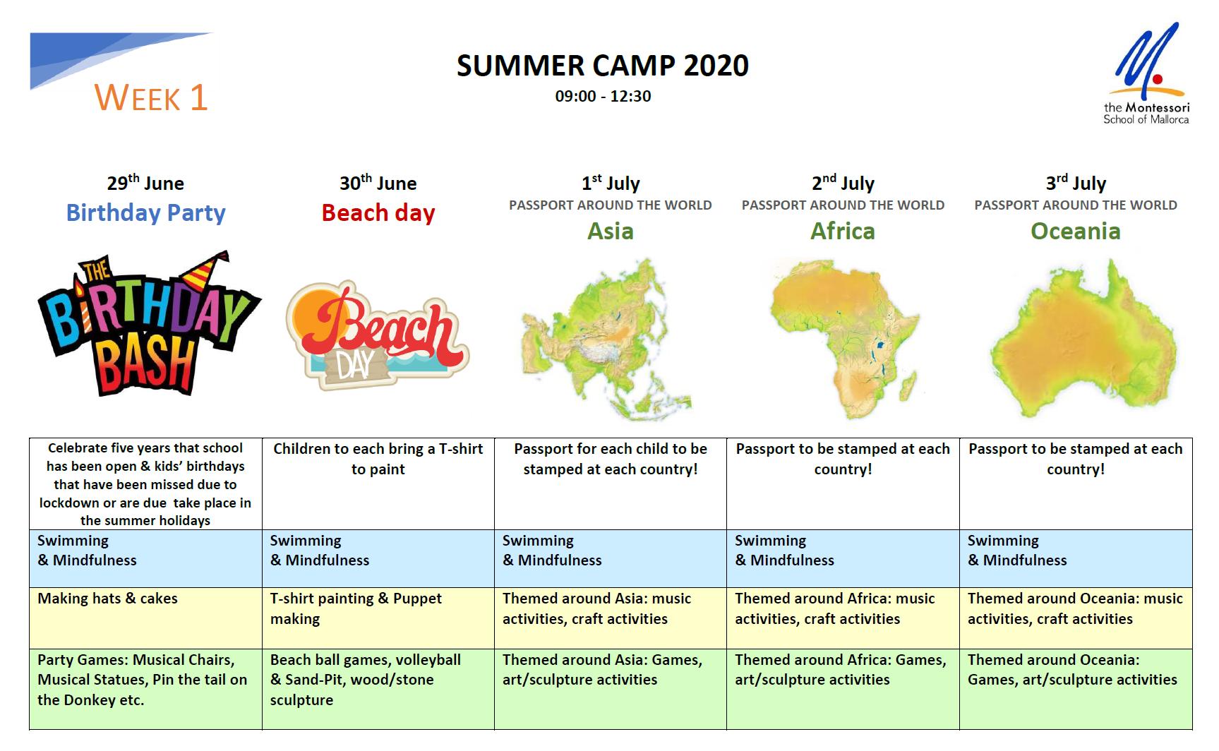 Summer camp programme