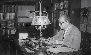 The Catalan writer Joan Povill i Adserà at his desk