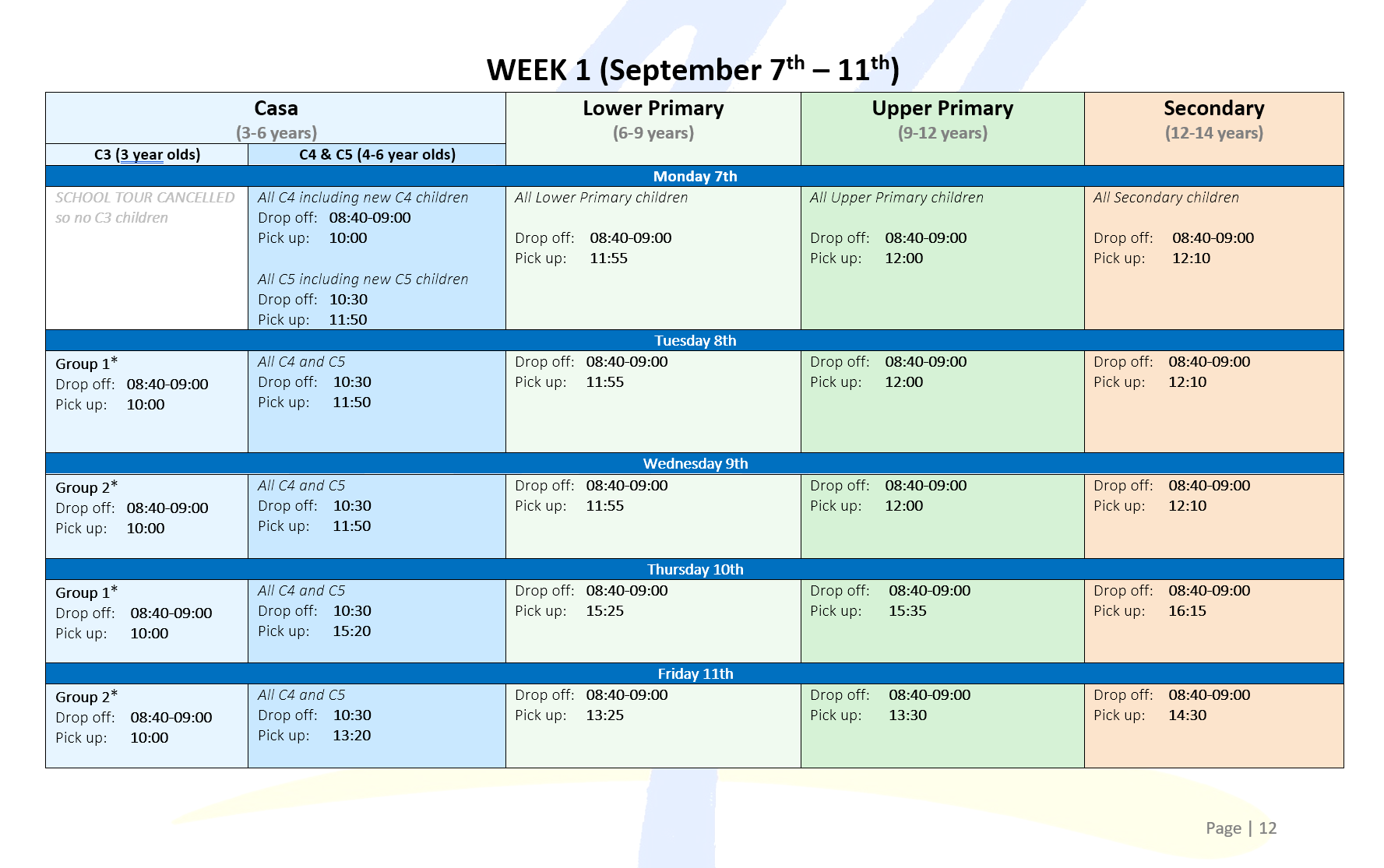 Illustration of time table for wee 1
