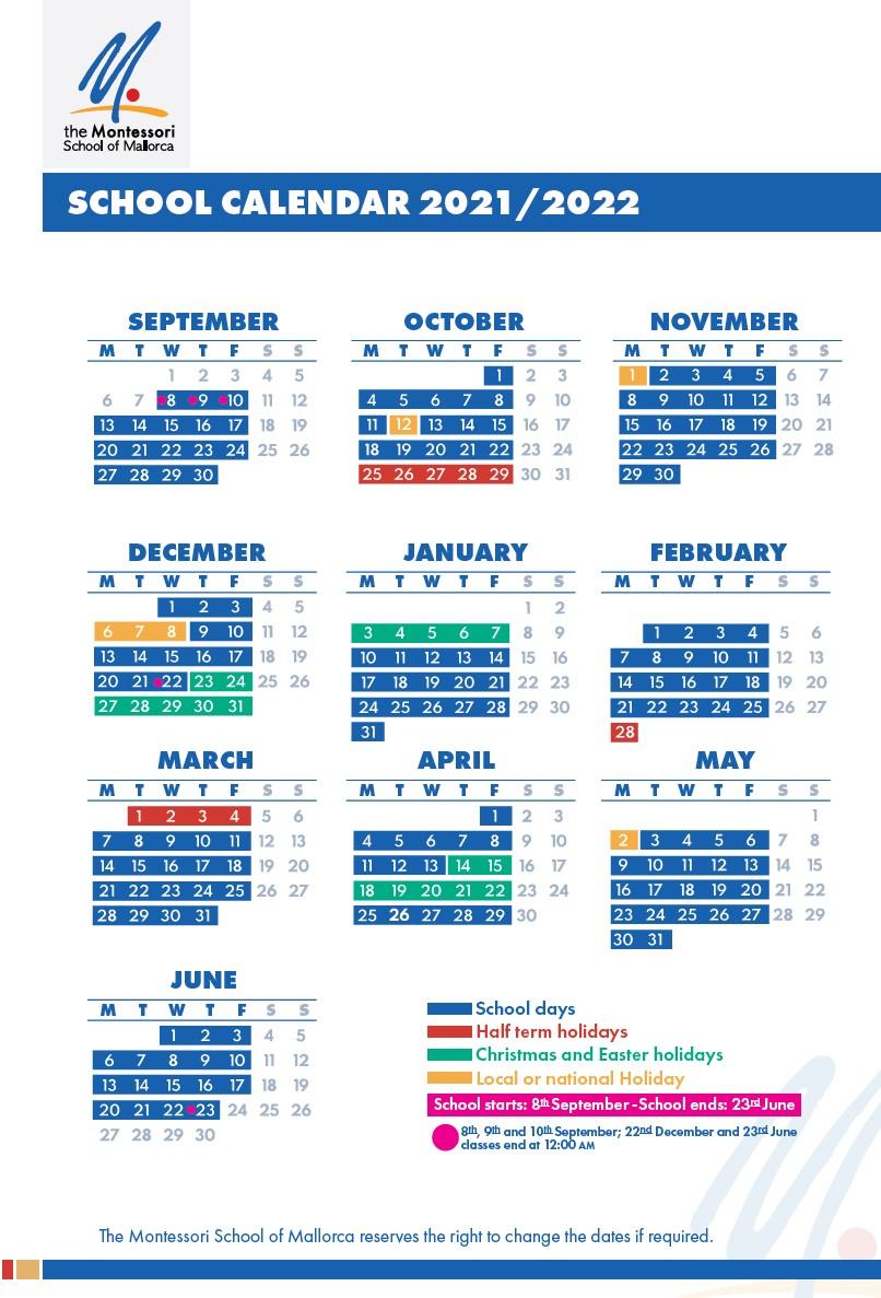 School-calendar-2021-2022-The-Montessori-School-of-Mallorca